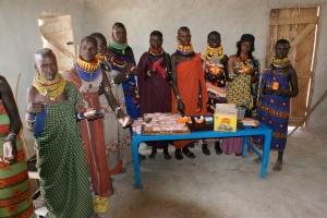 Turkana women making soap
